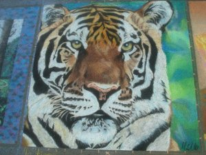 Nature. Chalk Pastel Street Painting