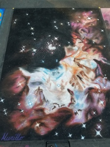 Astronomical. Chalk Pastel Street Painting