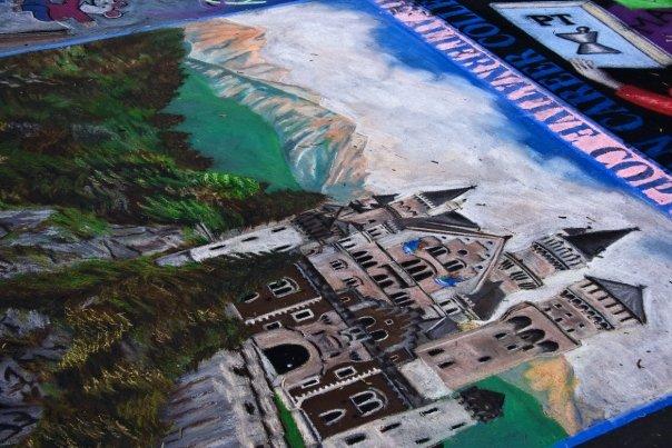 Landscape. Chalk Pastel Street Painting